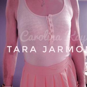 TARA JARMON cute blush cut out bow top XS